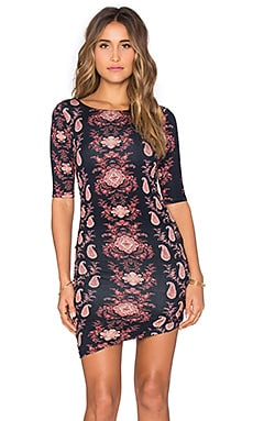 Gypsy 05 Printed Shirred Lace Mini Dress in Navy