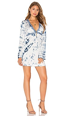 Deep V Mini Dress in Malini Navy