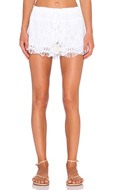 Gypsy 05 Crochet Drawstring Short in White