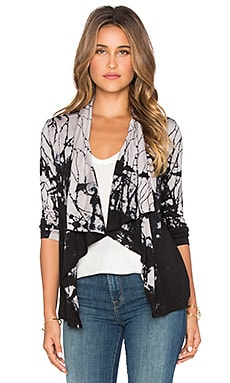 Gypsy 05 Bamboo Drape Cardigan in Black & Natural