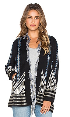 Gypsy 05 Graphic Intarsia Cardigan in Black