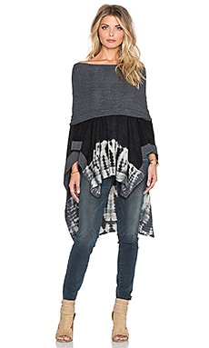 Gypsy 05 French Terry Cowl Neck Poncho in Black & Natural