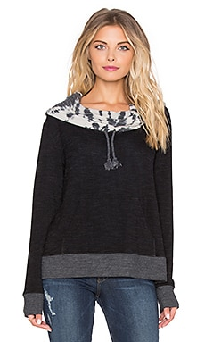 Gypsy 05 French Terry Cowl Neck Hoodie in Black & Natural