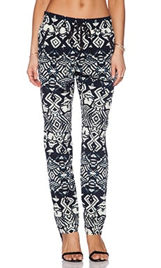 Silk Drawstring Trouser in Black & Bone
