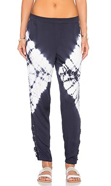 Lace Up Ankle Pant in Midnight