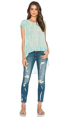 Gypsy 05 Silk Georgette Hi-Lo Top in Aqua