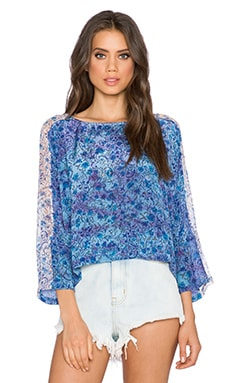 Gypsy 05 Printed Dolman Top in Azure