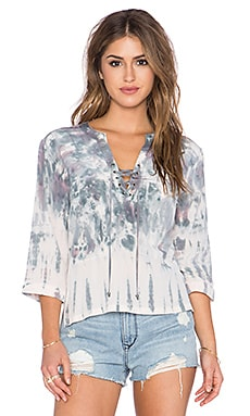 Gypsy 05 Lace Up Blouse in Charcoal