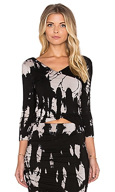 Gypsy 05 Bamboo 3/4 Sleeve Top in Black Tie Dye