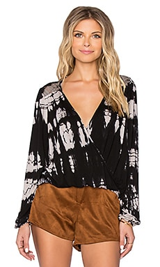 Gypsy 05 Bamboo Long Sleeve Wrap Top in Black & Natural