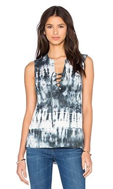 Laced Front Chest Pockets Tank in Blue