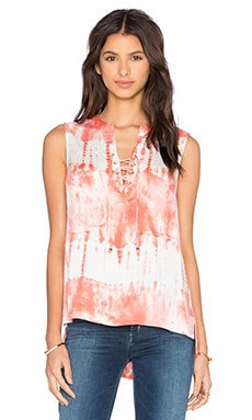 Laced Front Chest Pockets Tank in Blush