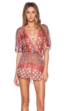 Gypsy 05 Dolman Sleeve Mini Dress in Coral Multi