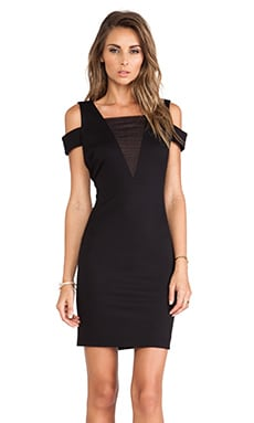 Halston Heritage Off the Shoulder Mesh Insert Dress in Black