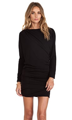 Halston Heritage Long Sleeve Boat Neck Dress in Black