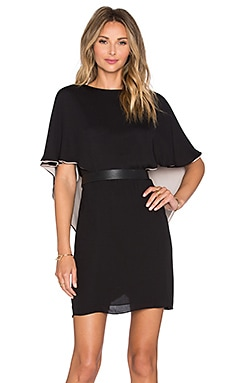 Halston Heritage Layered Dress in Black & Champagne