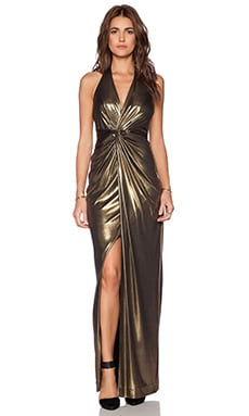 Halston Heritage Twist Front Gown in Antique Gold