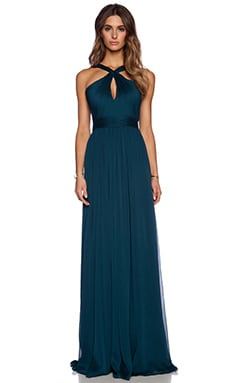 Halston Heritage Cross Neck Gown in Deep Sea