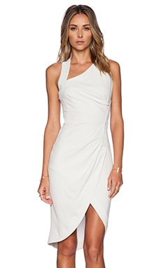 Halston Heritage Ruched Dress in Dark Bone