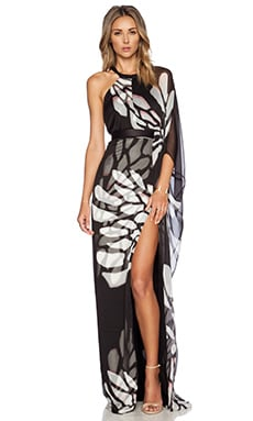 Halston Heritage Asymmetric Overlay Gown in Black Glowing Wings Print