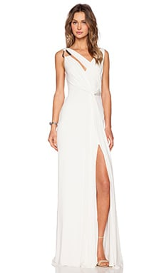 Halston Heritage Draped Cowl Back Gown in Bone