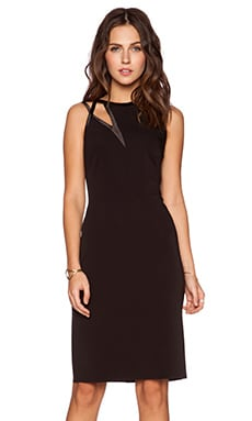 Halston Heritage Asymmetric Cut Out Dress in Black