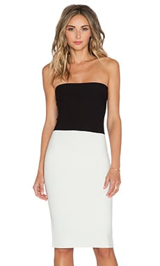 Halston Heritage Strapless Sweater Dress in Black & White