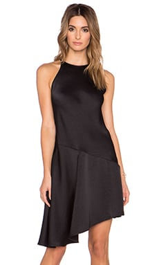 Halston Heritage Asymmetric High Neck Dress in Black