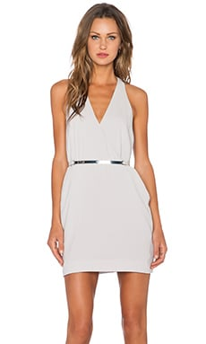 Halston Heritage Back Panel V Neck Dress in Flint