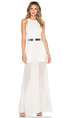 Halston Heritage Sheer Overlay Gown in Dark Bone