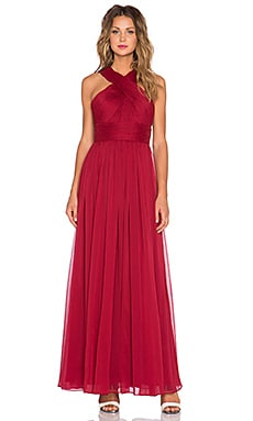 Halston Heritage Cross Neck Chiffon Gown in Garnet