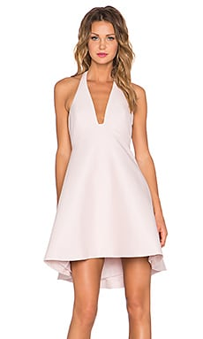 Halston Heritage Structured Halter Dress in Barely Pink