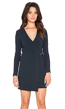 Halston Heritage V Neck Long Sleeve Dress in Vulcan