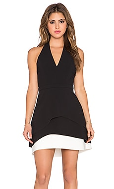 Halston Heritage Tiered Halter Dress in Black & Bone