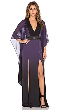 Halston Heritage Front Slit Ombre Caftan Gown in Elderberry Tonal Ombre Print