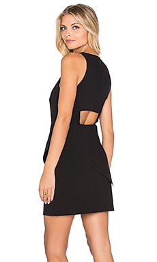 Halston Heritage Peplum Asymmetrical Tank Dress in Black