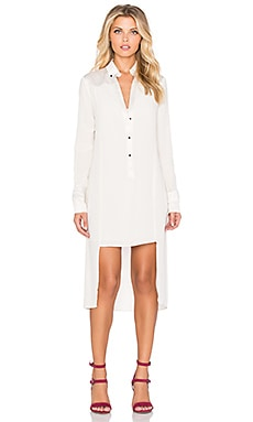 Halston Heritage Long Sleeve Tuxedo Shirtdress in Dark Bone