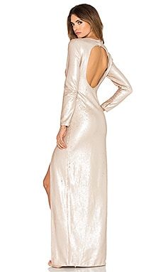 Halston Heritage Long Sleeve Sequin Gown in Buff & Gold