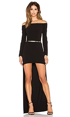 Halston Heritage Long Sleeve Hi-Low Gown in Black