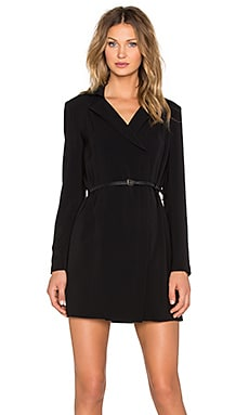Long Sleeve Trench Shirtdress in Black