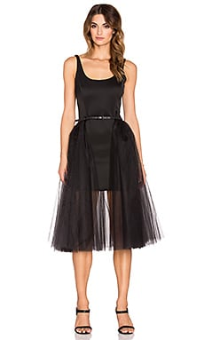 Halston Heritage Tulle Skirt Overlay Mini Dress in Black