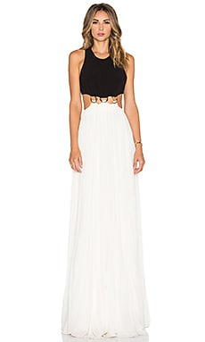 Halston Heritage Sleeveless Colorblock Gown in Black & Eggshell