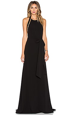 Halston Heritage Sleeveless High Neck Gown in Black