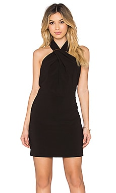 Cross Neck Mini Dress in Black