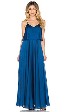 Halston Heritage Scoop Neck Ruffle Maxi Dress in Indigo