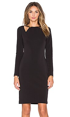 Halston Heritage Long Sleeve Cut Out Mini Dress in Black