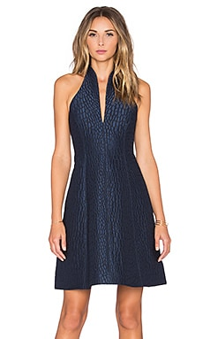 Halston Heritage Notch Neck Halter Mini Dress in Smokey Blue & Charcoal