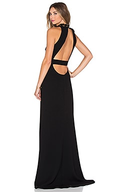 Halston Heritage Back Cut Out Maxi Dress in Black