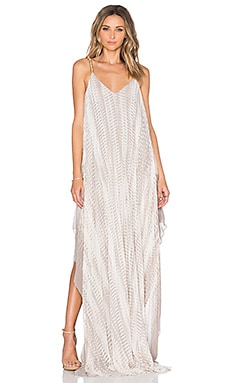 Halston Heritage V Neck Maxi Dress in Parchment Fading Pixels Print