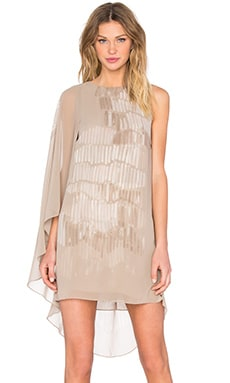 Halston Heritage Asymmetrical Sleeve Mini Dress in Parchment Painted Wave Print